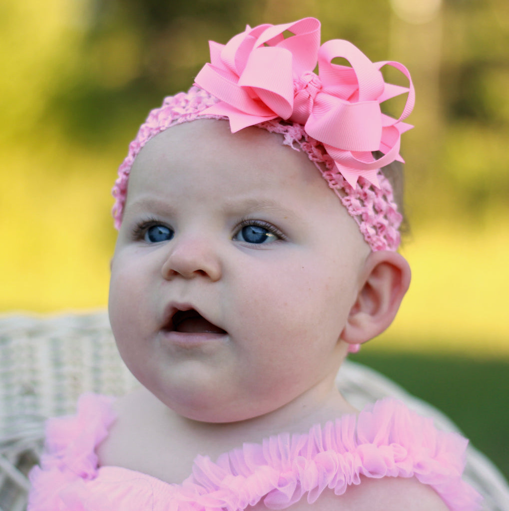 Pink Layered Bow Infant Headband