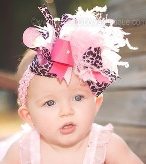 Big Boutique Pink Cheetah Leopard Over the Top Hair Bow Clip or Headband