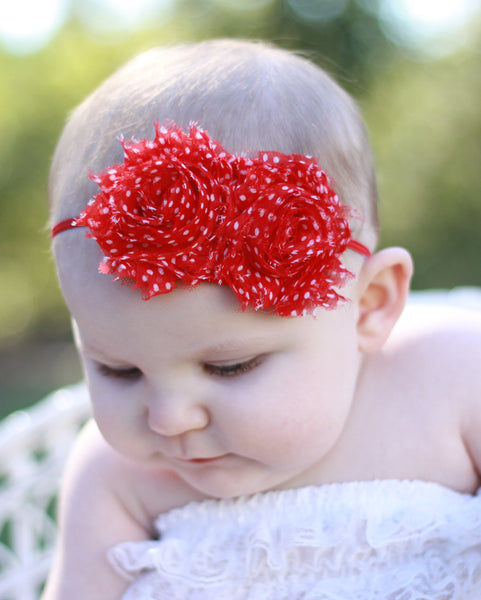 Mia Rose Red White Dot Fabric Flower Bitty Band