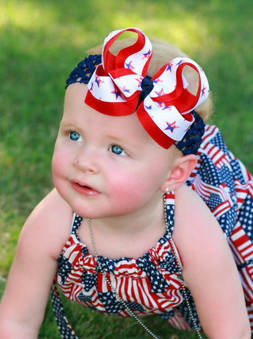 Buy Patriotic Stars Girls Hair Bow Clip or Baby  Headband Online