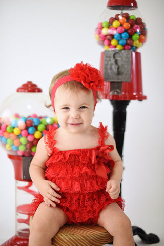 Red 1st Birthday Girl Outfit,First Birthday Outfit ,Red Romper