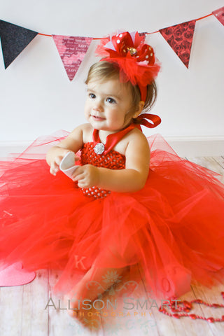 Red Polka Dot Tulle Over the Top Hair Bow