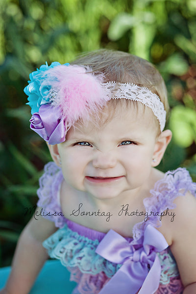 Girls Pastel Lace Baby Romper in Lavender Aqua and Pink