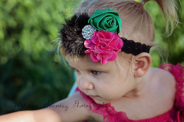 Satin Watermelon Green Shocking Pink Dazzle Vintage Rosette Feather Clip or Girls Lace Headband