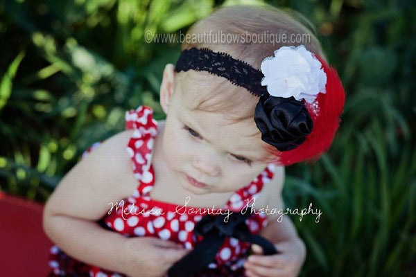 Buy Satin Red Black White Vintage Rosettes Red Feather Clip or Girls Lace Headband Online