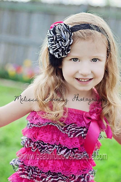 Buy Satin Zebra Hot Pink Tulle Dazzle Vintage Rosette Black Feather Clip or Girls Lace Headband Online