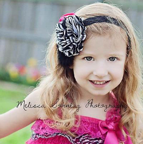 Satin Zebra Hot Pink Tulle Dazzle Vintage Rosette Black Feather Clip or Girls Lace Headband