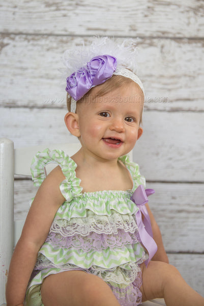 Shabby Chic Lavender Baby Headband, Lavender and White Flower Headband