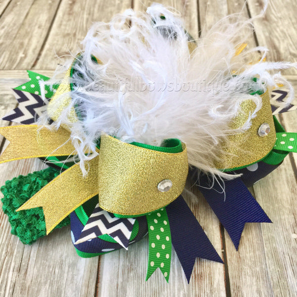 Green and Navy Blue Hair Bow,School Uniform Bows, OTT
