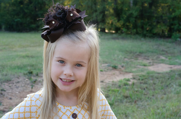 Solid Brown Over the Top Hair Bow Baby Headband, Brown Bow Headband