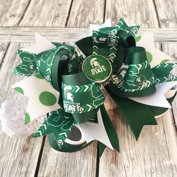 Buy Spartans Michigan State Baby Headband,Michigan State Hair Bows,College Hair Bows Online