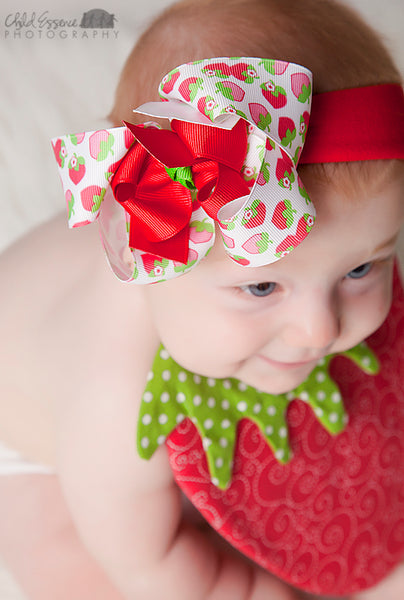 Sweet Strawberry Girls Hair Bow Clip or Baby Headband