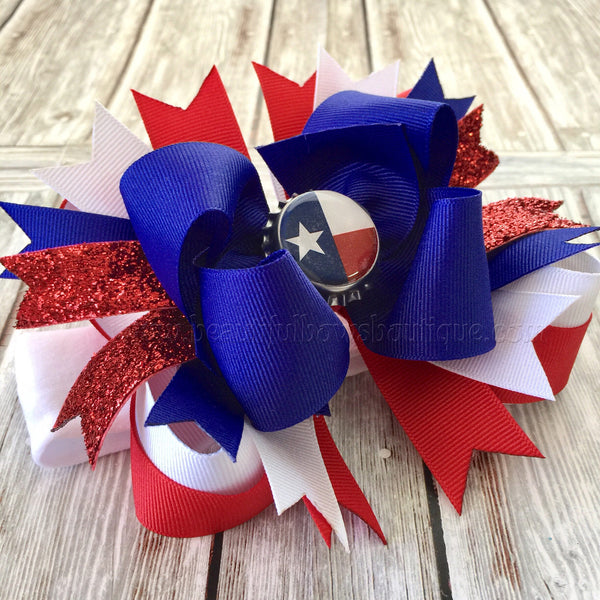 Texas Baby Headband,Texas Flag Hair Bow,State Baby Bow, Red White Blue