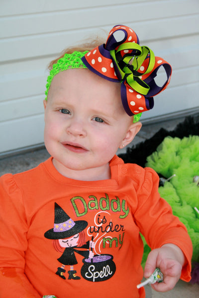 Funky Halloween Girls Hair Bow Clip Clip or Headband