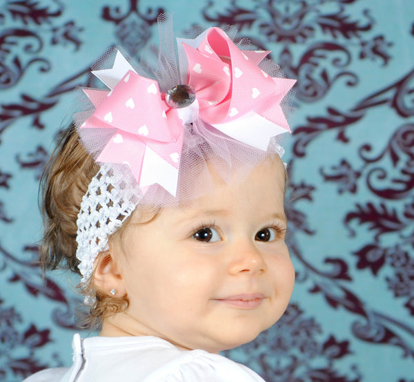 Pink Hearts Tulle Girls Hair Bow Clip or Headband