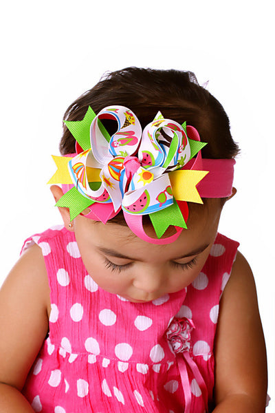 Summer Fun Girls Hair Bow Clip or Headband