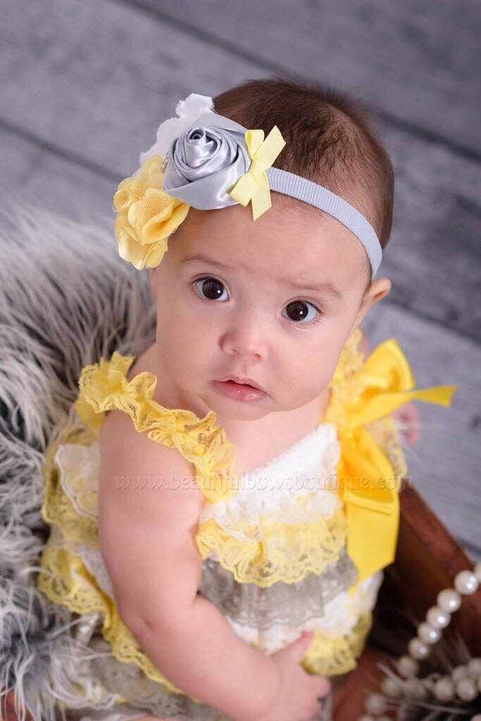 Yellow and Gray Newborn Baby Headband, Shabby Flower Headband