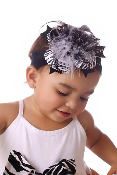 Fluffy Zebra Girls Hair Bow Clip or Headband