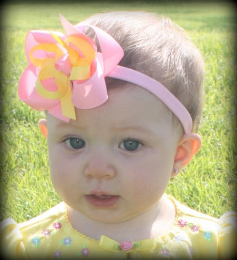 Dainty Pink & Yellow Girls Hair Bow Clip or Headband