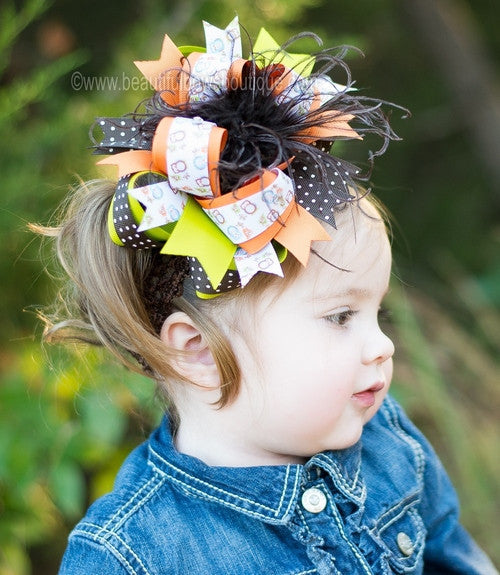 Autumn Owl Girls Fall Over the Top Hair Bow Clip or Headband
