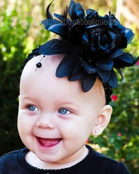 Avonlea Black Rose Flower Feather Baby Headband or Hair Clip