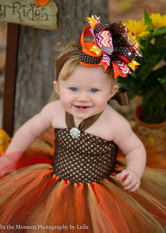 Big Autumn Chevron Fall Over the Top Hair Bow or Baby Headband