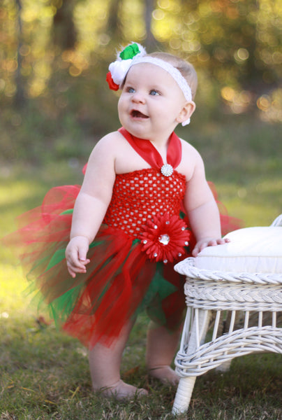 Fancy Christmas Baby Tutu Dress Red and Green Flower Tutu