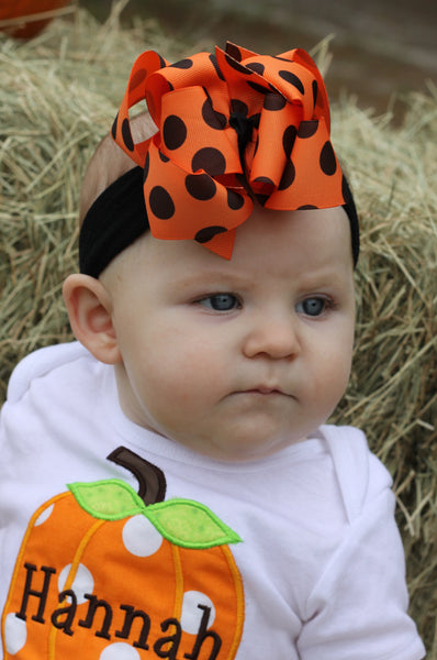 Orange and Black Polka Fall Halloween Girls Hair Bow Clip or Headband