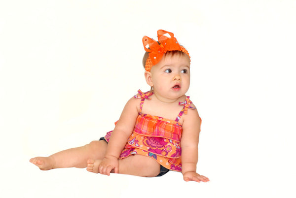 Orange Sheer Bling Girls Baby Headband Hair Bow - CHOOSE COLOR