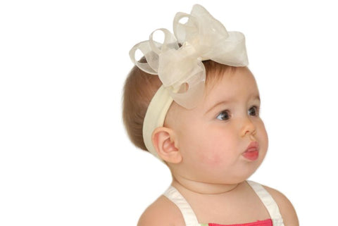 Buy Cream Ivory Double Sheer Hair Bow Clip-CUSTOM Online