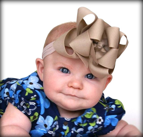 Large Double Layered Tan Hair Bow Clip-CHOOSE COLOR