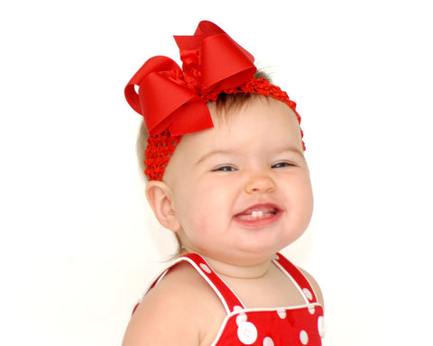 Red Grosgrain Ruffle Hair Bow Headband for Babies -CHOOSE COLOR