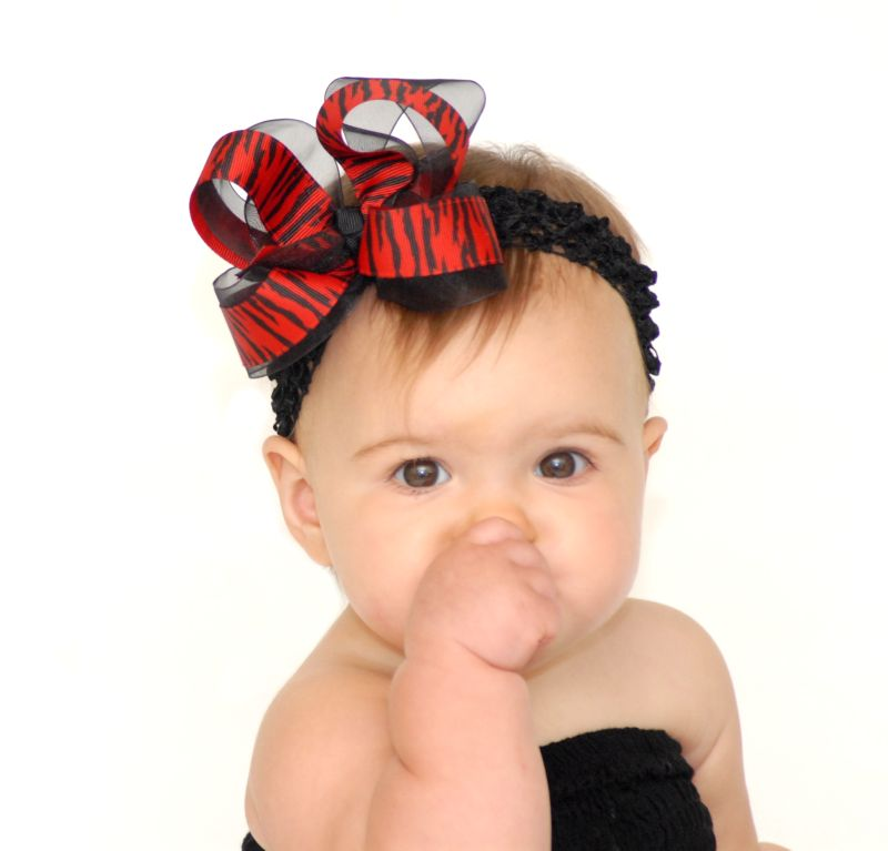Red  Zebra Girls Hair Bow Clip or Baby Headband