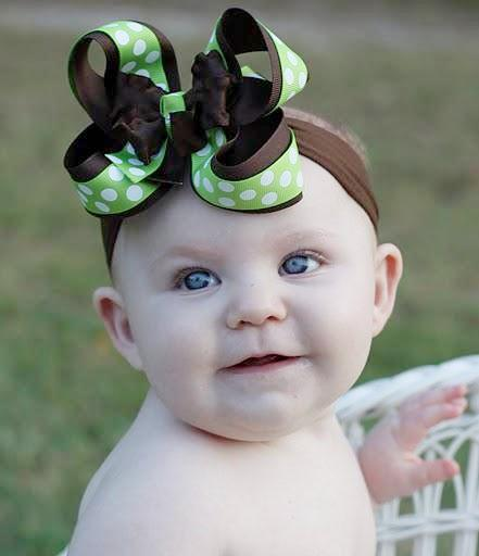 Ruffled Brown and Lime Green Dot Girls Hair Bow Clip or Headband