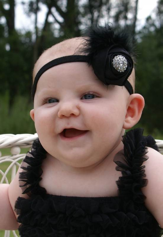 Fancy Black Satin Rosette Feather Vintage Baby Headband