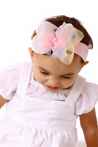 Pastel Rainbow Spring Newborn Headband Baby Girl HairBow Easter Shabby Bow