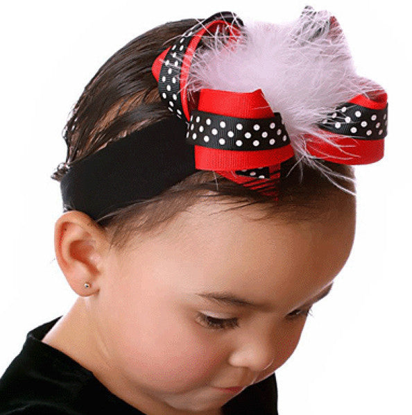 Fluffy Black Red & White Feather Girls Hair Bow Clip or Headband