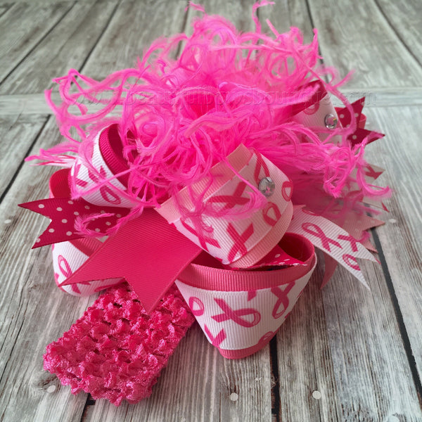 Buy Hot Pink Breast Cancer Awareness Over the Top Girls Hair Bow Clip or Headband, Pink Out Online