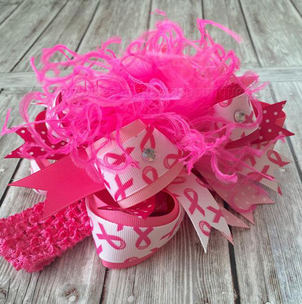 Hot Pink Breast Cancer Awareness Over the Top Girls Hair Bow Clip or Headband, Pink Out