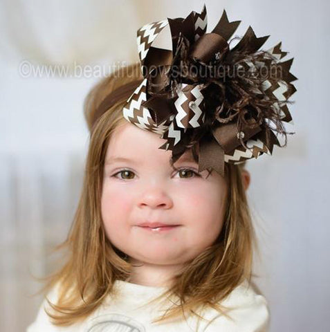 Fall Brown Chevron Stripes Hair Bow Baby Headband
