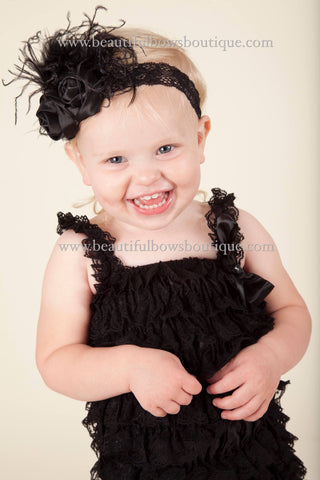 Shabby Black Baby Headband, Chic Black Flower Headband