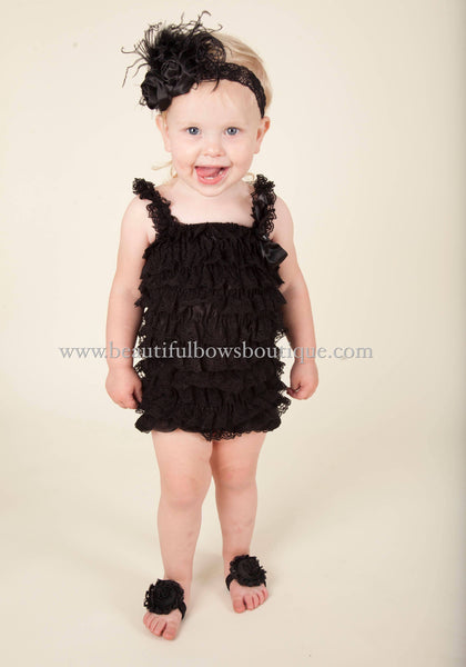Black Baby Romper and Flower Headband Set, Black Petti Romper
