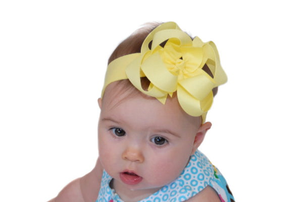 Double Layered Light Yellow Boutique Hair Bow or Headband
