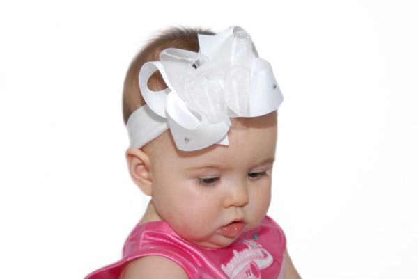 White Bling Baby Headband Bow, White Hair Bow with Diamonds
