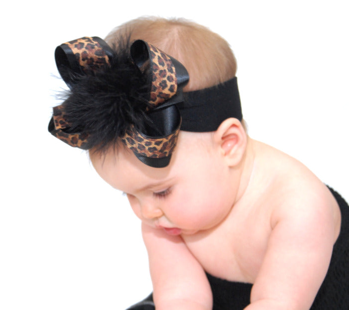 Black Leopard Marabou Girls Hair Bow Clip or Headband