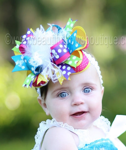 Big Boutique Rainbow Hair Bow Clip, Over the Top Baby Headband