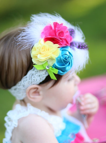 Buy Bright Rainbow Feather Vintage Rose or Girls Lace Headband Online