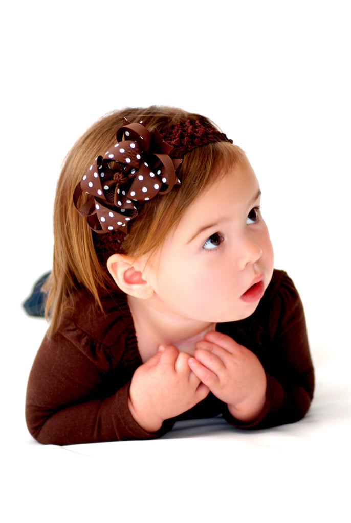 Dainty Brown Polka Layered Girls Hair Bow Clip and Headband Set