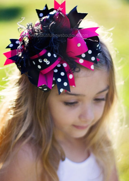 Buy Black & Shocking Pink Polka Girls Over the Top Hair Bow Clip or Headband Online