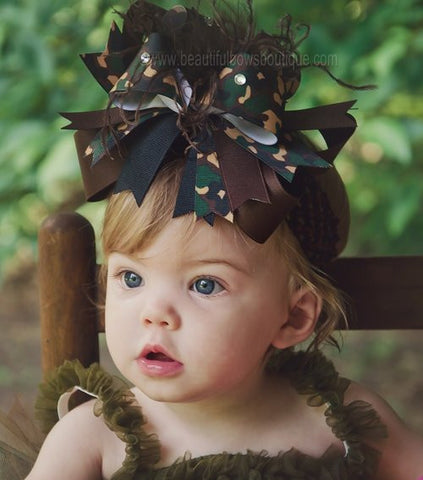 Big Boutique Camouflage Over the Top Hair Bow Clip or Baby Girl Headband